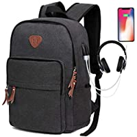 ibagbar Canvas Vintage Laptop Backpack with USB Charging Port