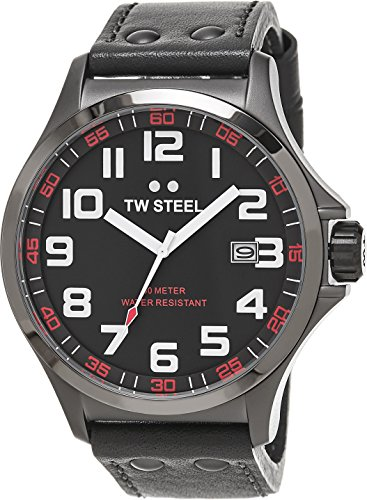 TW Steel Pilot Watch - Grey Dial Date TW Steel Watch Mens - Grey Leather Band 48mm Stainless Steel Plated Titanium Watch TW421