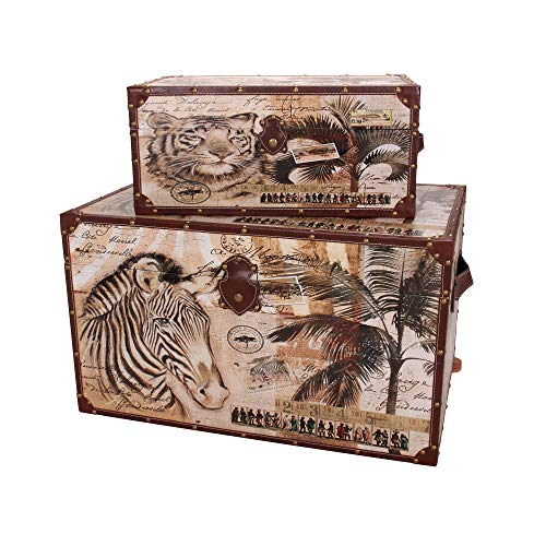 (Household Essentials Animal Kingdom Storage Trunks (Set of 2), Jumbo/Medium, Brown)