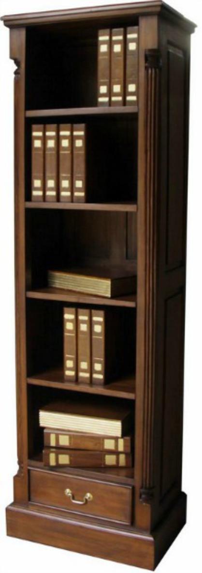 Säule aus massivem Mahagoni hoch schmal Bücherregal