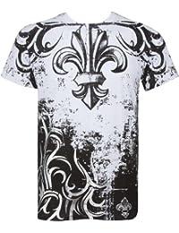 Sakkas Fleur de Lis Tree Branches Metallic Silver Fashion T-Shirt