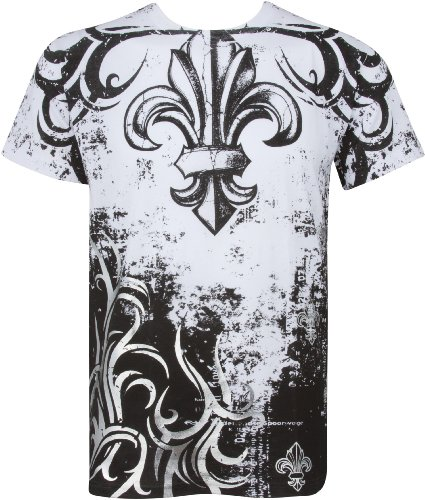 TGBranchesFleur227 Fleur de Lis Tree Branches Metallic Silver Embossed Short Sleeve Crew Neck Cotton Mens Fashion T-Shirt - White/XX-Large