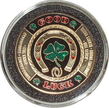 Hand Painted Poker Card Guard Protector - Good Luck - Poker Coin Card Guard