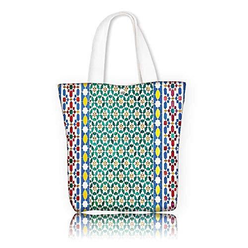 Canvas Tote Handbag —W11 x H11 x D3 INCH/work school Shoulder Bag Moroccan Decor Colorful Moroccan Mosaic Wall Mideast Style Craftsmanship Vertical Details.