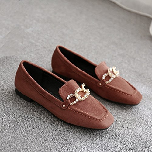 Toe Tan Dress Flats Loafers Loafer Shoes GIY Slip Square Suede Casual Womens Rhinestone Penny Classic On 4nTwxZStBx