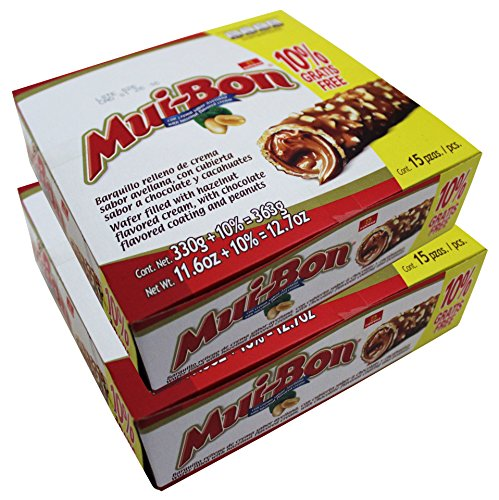 Nutresa MuiBon Chocolate and Peanuts Covered Wafer with Hazzelnut Cream Filling (2 Pack)