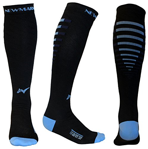 Compression Socks for Men & Women, BEST Graduated Stockings for Runners, Nurses, Pregnancy, Plantar Fasciitis, Shin Splints, Hiking, Cycling, Walking, Athletic, Travel, Recovery (Black & Blue, L/XL)