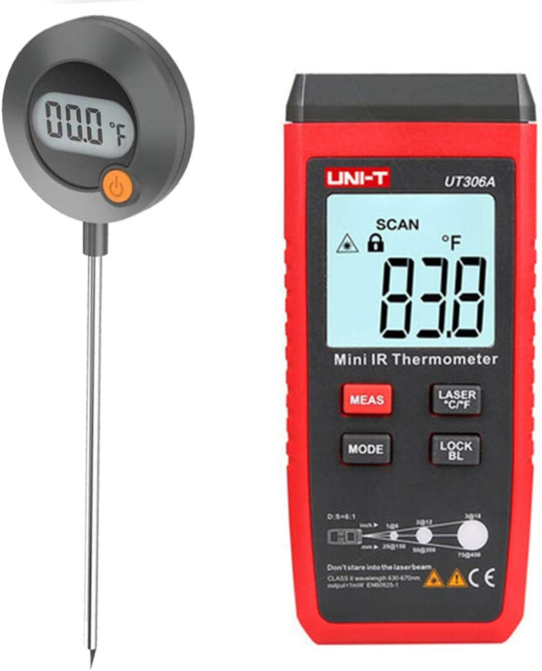 UNIT Digital Read Meat Thermometer Probe Set, Handheld Waterproof Infrared Laser Cooking Thermometer with Sensitive Probe for Kitchen Outdoor BBQ Grill Smoker, Instant Reading & Non-Contact