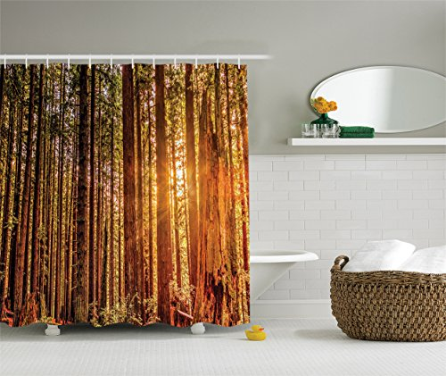Tree Shower Curtain USA National Park Decor by Ambesonne,
