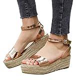 Women Gladiator Summer Sandals,❤️Maonet Women's Ladies Strap Ankle Buckle Platform Wedges Woven Sandals Roman Shoes 3cm-5cm (US:6, Gold)