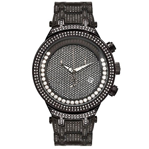 Joe Rodeo JJMS24 (W) Master Man Diamond Watch, Black Dial with Black Paved Band