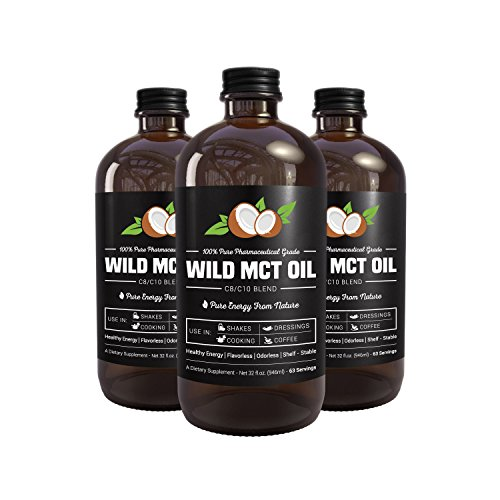 MCT Oil C8/C10 Blend 32oz Glass Bottle - 100% Pharmaceutical Grade by Wild Foods - Made in USA - Smoothies, Shakes, Cooking, Coffee (2 Bottles)