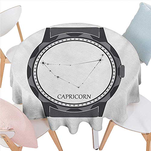 BlountDecor Zodiac Capricorn Patterned Round Tablecloth Greyscale Watch Dial Design with Horoscope Constellation Motif Dust-Proof Round Tablecloth D60 Grey Charcoal Grey (Patterned Round Dial)