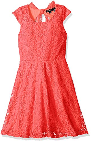 Zunie Little Girls' Capsleeve Ribbed Striped Skater Dress with Chiffon Bow, Coral 2, (Coral Girls Dresses)