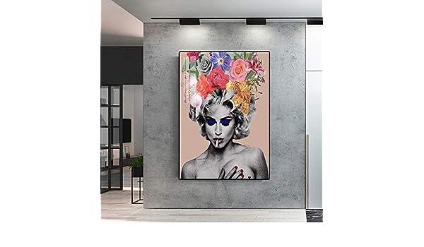 RTCKF Impresión en Lienzo Flor Retrato Abstracto Chica ...