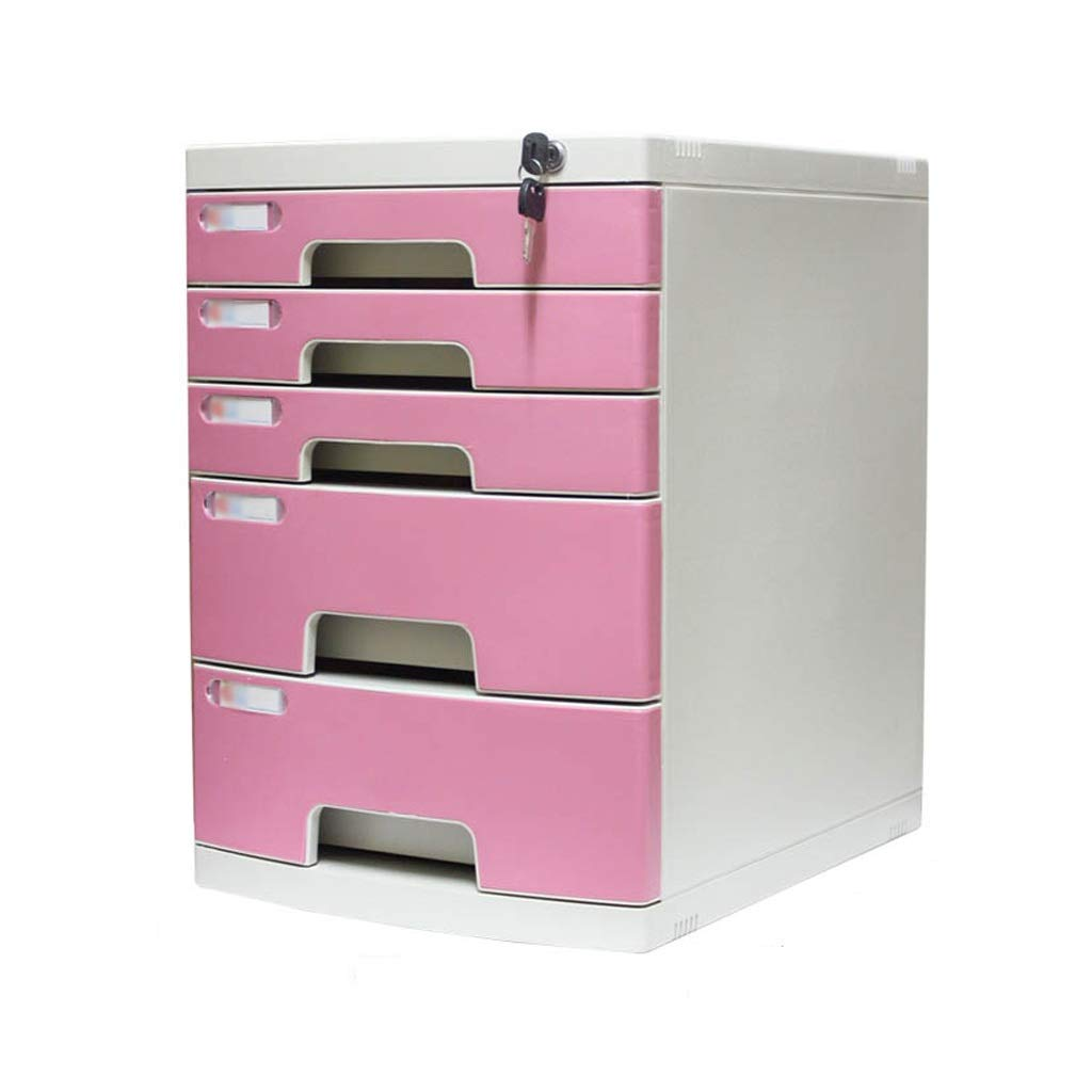 Bxwjg Desktop File Cabinet, Drawer Organizer 5-Layers Lockable with White Label Environmentally Friendly Plastic (29.539.443cm) (Color : A1)