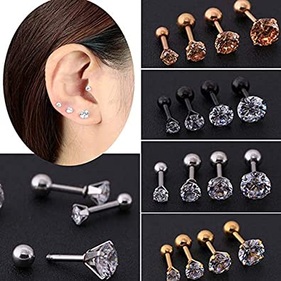 34a32ad0194b2 Yimosecoxiang New Men Women Rhinestone Cartilage Tragus Bar Helix ...