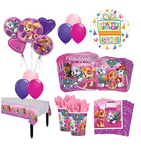 The Ultimate 16 Guest 94pc Paw Patrol Girls Skye and Everest Birthday Party Supplies and Balloon Decoration Kit