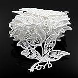 Floral Motifs Boho White Lace Applique Trim Sequins