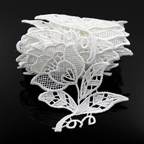 Floral Motifs Boho White Lace Applique Trim Sequins Flower Embroidery Applique Sewing Craft,2 Yards (Floral Lace Trim)
