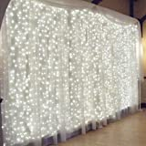 GaGa 600 LED 19.6ft x 9.84ft Window Curtain String Light Fairy Lights Icicle Lights, 8 Lighting Modes for Wedding Party Christmas Home Outdoor Garden Festival Holiday Decorations (Cold White)