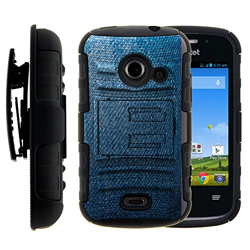 Zte Whirl 2 Case  Zte Whirl 2 Holster  Two Layer Hybrid Armor Hard Cover With Built In Kickstand For Zte Whirl 2 Z667g  Zte Flame  Zte Prelude 2 Z667  Zte Zinger Z667t  Straight Talk  Net10  Cricket  T Mobile  From Miniturtle   Includes Screen Protector   Blue Jeans