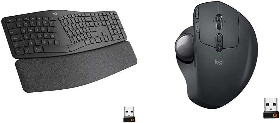Logitech Ergo K860 Wireless Ergonomic Keyboard with Wrist Rest and MX Ergo Wireless Trackball Mou