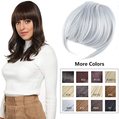 Clip in Bangs Fringe Hair Extensions with Temples Fashion Hair-pieces Sliver Grey