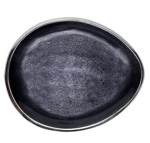 (Melange Home Decor Cuivre Collection, 9-inch Oval Platter, Color - Dark Gray )