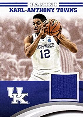 Karl-Anthony Towns player worn jersey patch basketball card (Kentucky Wildcats) 2016 Panini Team Collection #KAT-UK