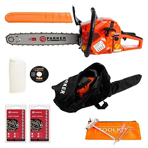 58CC 20' PETROL CHAINSAW + 2 x CHAINS - FREE CARRY CASE - BAR COVER - TOOL...