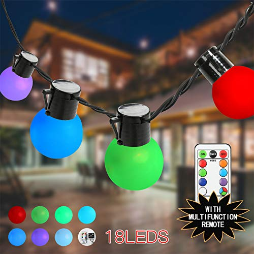Globe String Lights RGB Party Lights Color Changing for Patio, Garden, Pool, Home Decor, café, Hotel, Bars, Parties, Weddings, Camping,Christmas 18lt with multifuction Remote Connectable from SUNTRA