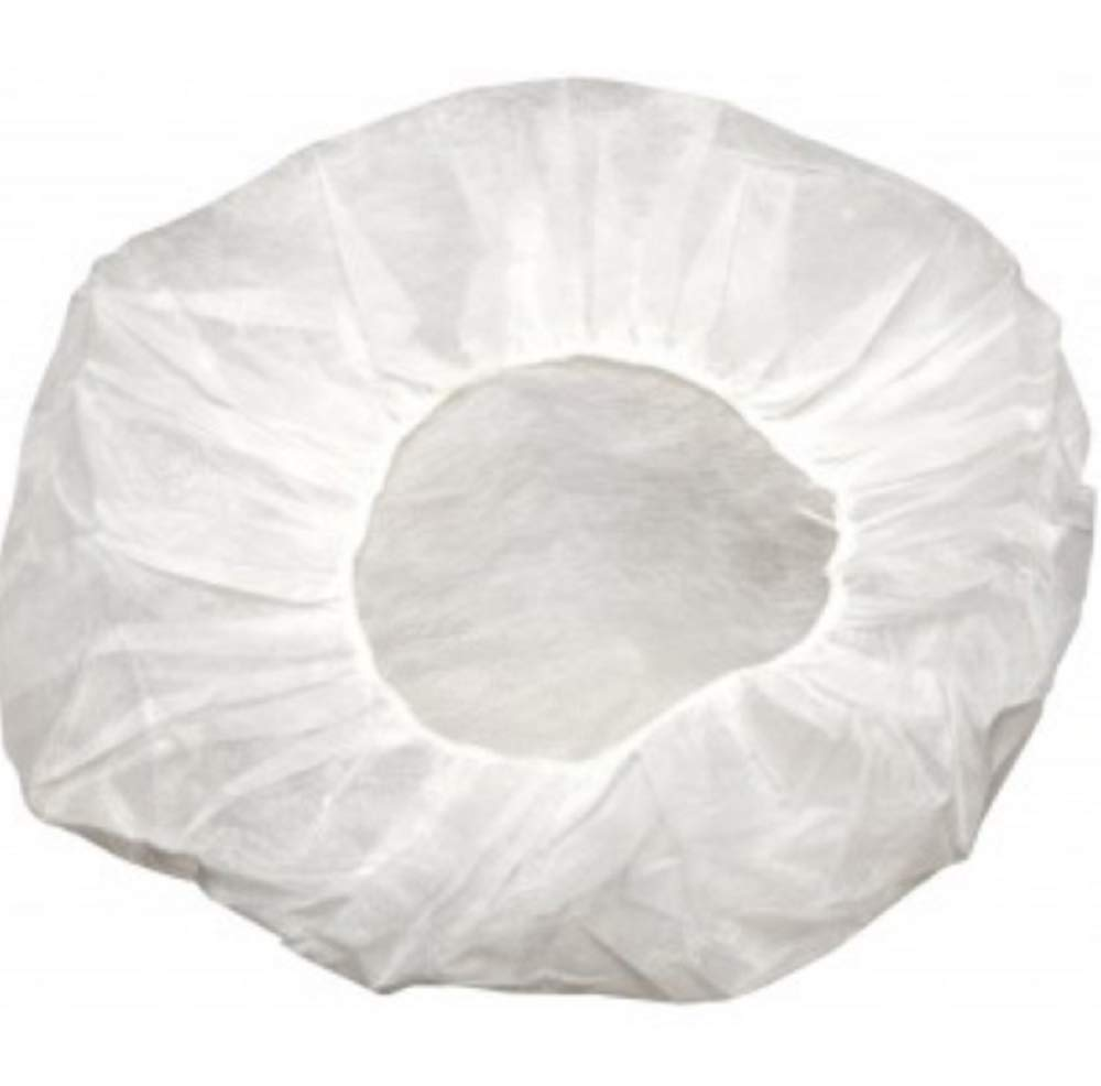 "100 Pack White Bouffant Caps 21"". 10g Hairnet Caps with elastic stretch band. Disposable Polypropylene Hats. Unisex Protective Hair Covers for food service, medical use. Breathable, Lightweight."