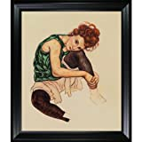Overstockart Es2444-Fr-994820X24 Schiele The Artist's Wife with Black Satin Frame