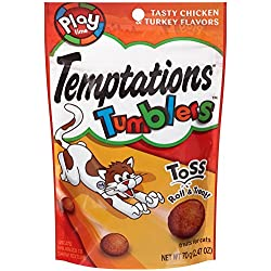 TEMPTATIONS TUMBLERS Treats for Cats Tasty Chicken and Turkey Flavors 2.47 Ounces (Pack of 12)
