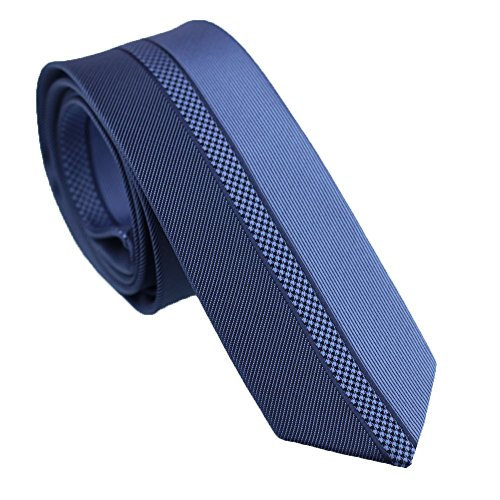 Coachella Ties Plaids and Diagonal/vertical Stripes Necktie Men's Skinny Tie (Blue)