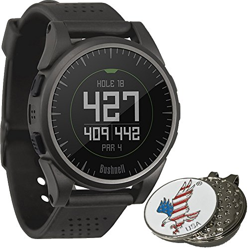 Bushnell 2017 Excel Golf GPS Watch Rangefinder (CHARCOAL) Comes with 1 Custom Ball Marker Hat Clip Set (American Eagle) 35,000+ Worldwide Courses by Bushnell