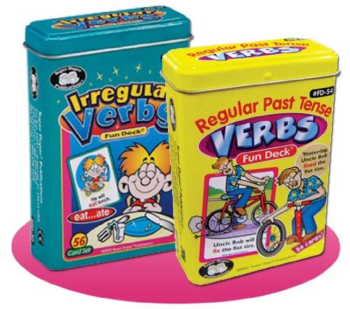 Super Duper Publications Regular Past Tense Verbs and Irregular Verbs Fun Deck Cards Combo Educational Learning Resource for Children