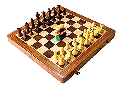 "12"" Full Size Complete Chess Game / With Two Extra Queens / LACQUER COATED Wooden Magnetic Handcrafted Travel Chess Board with Foam Storage Inside For Chess Pieces..Best Gift For Kids & Adults."