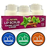 NRB Beauty Revival Lip Scrub 3 Piece Set - All Natural Sugar Based - Exfoliating & Moisturizes Chapped Dry Lips - 0.5 oz Each - Made In The USA - Mint