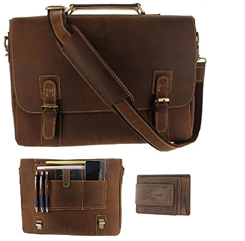 Viosi Mens RFID Leather Messenger Bag / 14 or 16 Inch Laptop Briefcase Shoulder Satchel Bag / RFID Money Clip Included (14'' Hunter Messenger Bag w/ RFID Hunter Money Clip) by Viosi