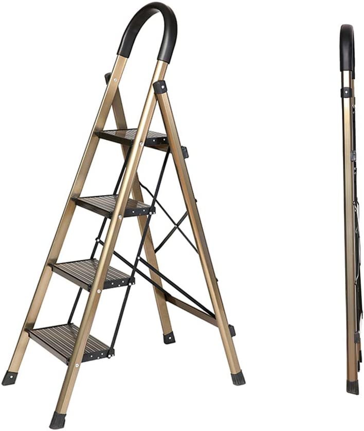 Escaleras multifunción Escalera de hogar Plegable de Aluminio Espiga Interior Engrosamiento Ascensor de Carga Escaleras de Mano (Color : Gold, Size : 77 * 44.5 * 138cm): Amazon.es: Hogar