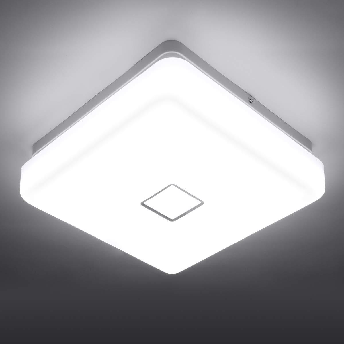 Onforu 24W LED Lámpara de Techo Cuadrado, IP65 Impermeable LED Plafón 2100LM para Salón Cocina Dormitorio Baño Pasillo Habitacion, Igual al 220W Luz ...