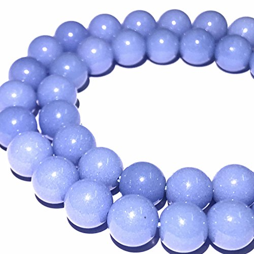 Blue Jade Beads - [ABCgems] Glow in Dark Mexican Blue Aragonite AKA Cave Calcite (Extremely Rare- Exquisite Color) 10mm Smooth Round Beads for Beading & Jewelry Making
