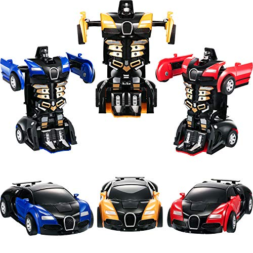 Tatuo 3 Pieces Robot Car Toy 2 in 1 Deformation Car for Kids Boys Playing Christmas Birthday Gifts (Blue Yellow and -