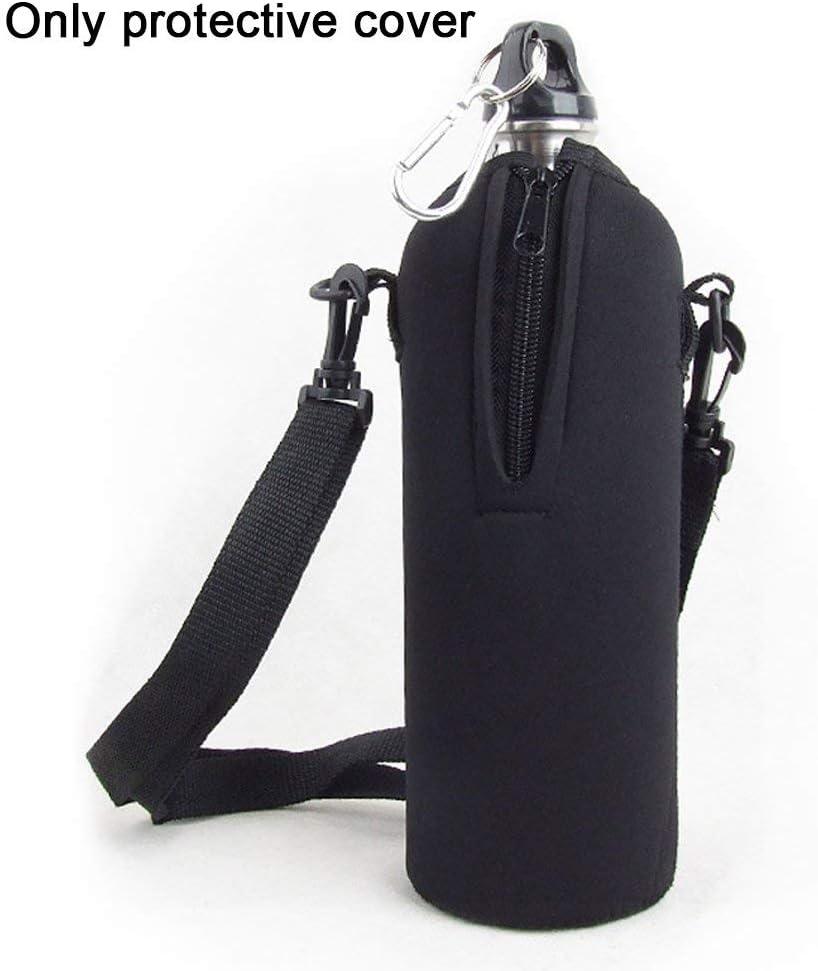 Negro free size Botella Bid/ón Funda Aislante Sling Carrier Bolsa con Desmontable Correas para 1000ML Botella Bolsa Soporte Exterior Motero Ciclismo Viaje Escalada Deportiva
