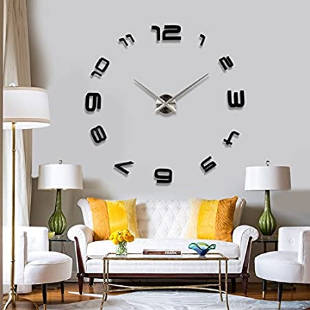 3d extra large luxury mirror wall sticker clock layout size 1300mm x 1300mm available in