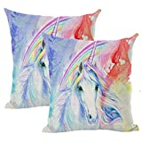 home office layout Pillow Covers Unicorn Pillowcase, Oil Painting Unicorn Throw Pillow Cover Boy Series Unicorn Pillowcase,Linen Pillow Case18x18Inch/45cmx45cm,Suitable for Home,Bedroom Layout,Office Layout,Pack of 2