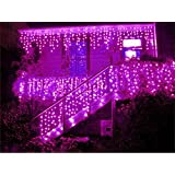 NOVADEAL 110V 3.5M/11ft 96 LED Linkable Fairy Curtain String Light with 8 Modes For Indoor/Outdoor/Garden/Patio/Christmas Party Holiday Decoration - Pink