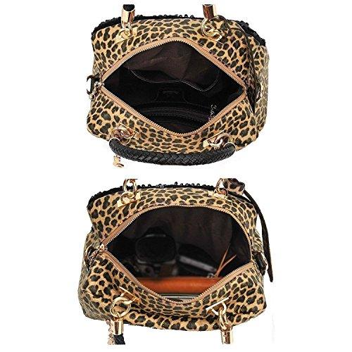 casual de mujeres - TOOGOO(R)Bolsa de lentejuelas de hombro de cuero de PU de impresion de leopardo de estilo casual de mujeres
